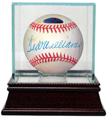 Ted Williams signed ROAL Rawlings Official American League Baseball w/ Glass Case minor tone spots-Steiner Holo (Boston Red Sox) PSM-Powers Sports Memorabilia