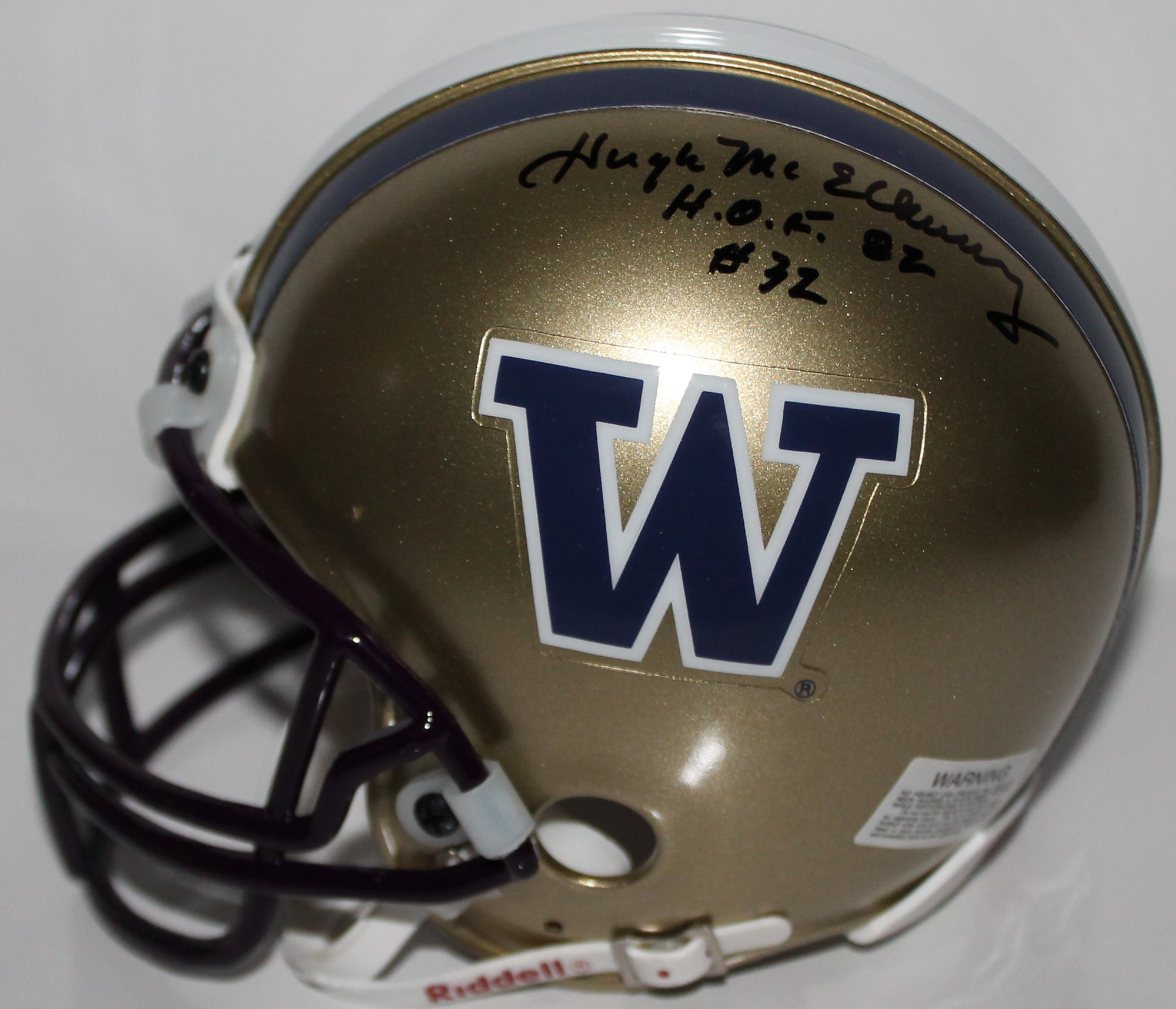 "Hugh McElhenny Washington Huskies Autographed Mini Helmet Inscribed ""HOF 82"" PSM-Powers Sports Memorabilia"