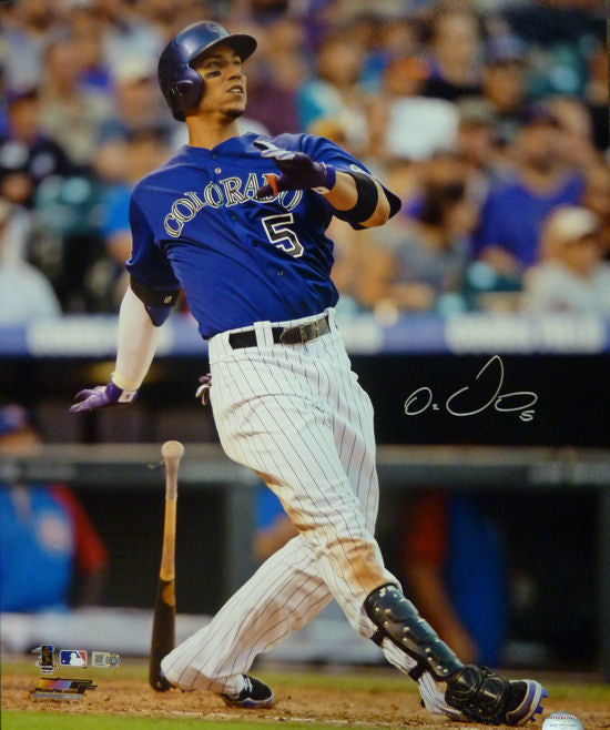 Carlos Gonzalez Autographed Colorado Rockies 16X20 Photo Purple Jersey Hitting MLB PSM-Powers Sports Memorabilia