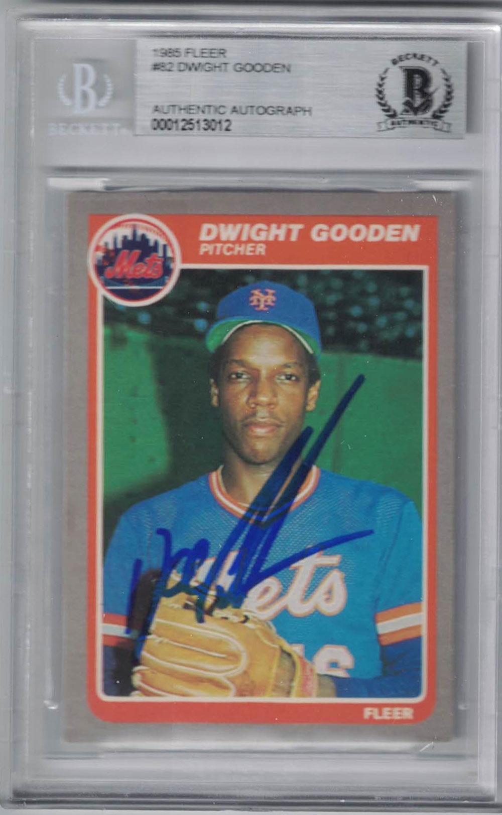 Dwight Gooden Signed New York Mets 1985 Fleer Trading Card BAS Slab PSM-Powers Sports Memorabilia