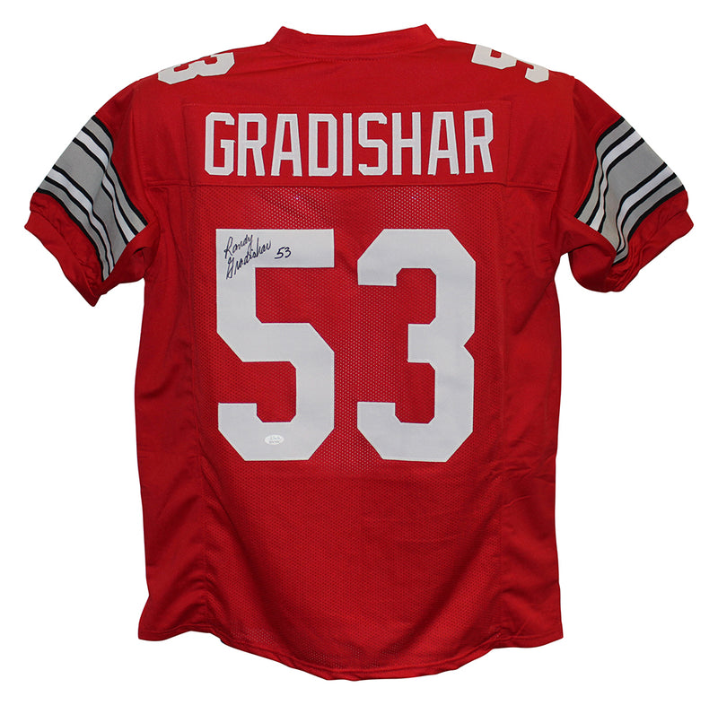Randy Gradishar Autographed/Signed Ohio State Buckeyes Red XL Jersey JSA PSM-Powers Sports Memorabilia