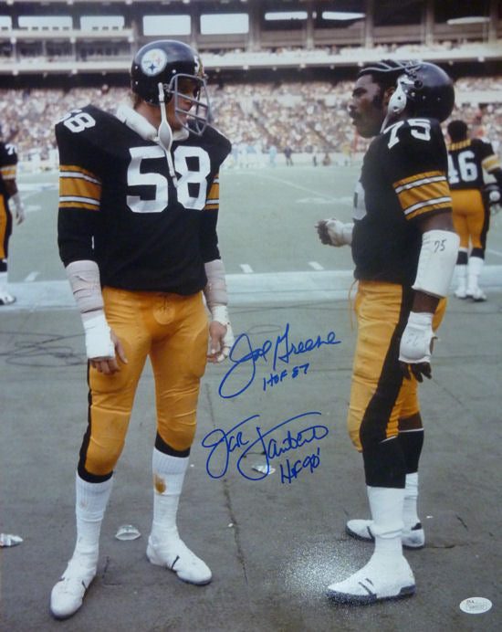 Joe Greene & Jack Lambert Autographed Pittsburgh Steelers 16x20 Photo JSA PSM-Powers Sports Memorabilia