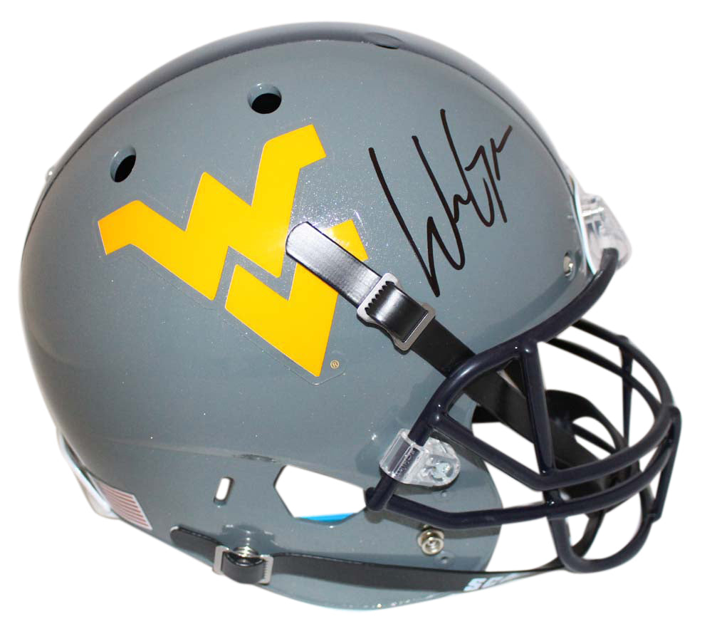 Will Grier Signed West Virginia Mountaineers Gray Replica Helmet BAS PSM-Powers Sports Memorabilia