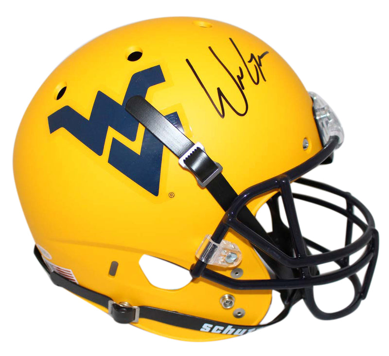 Will Grier Signed West Virginia Mountaineers Gold Replica Helmet BAS PSM-Powers Sports Memorabilia