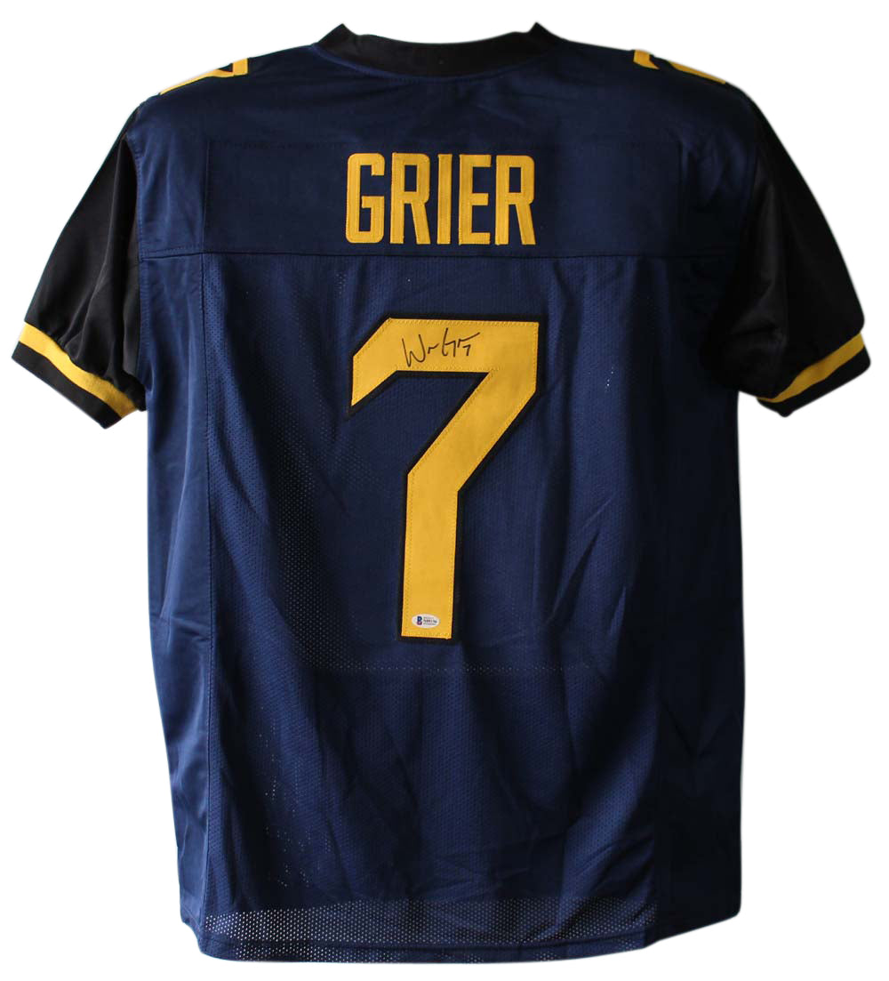 Will Grier Autographed West Virginia Mountaineers Blue XL Jersey BAS PSM-Powers Sports Memorabilia