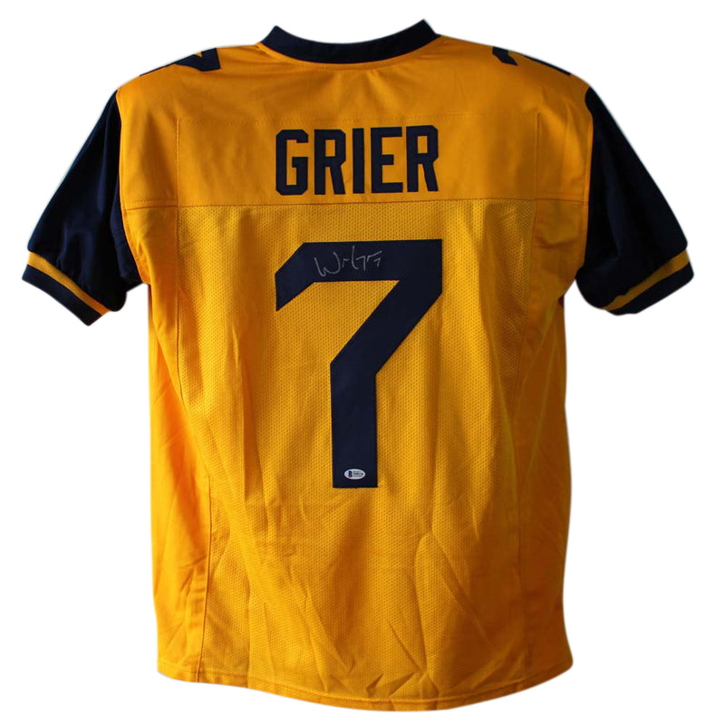 Will Grier Autographed West Virginia Mountaineers Yellow XL Jersey BAS PSM-Powers Sports Memorabilia