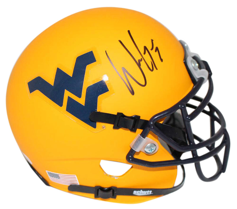 Will Grier Signed West Virginia Mountaineers Gold Mini Helmet BAS PSM-Powers Sports Memorabilia