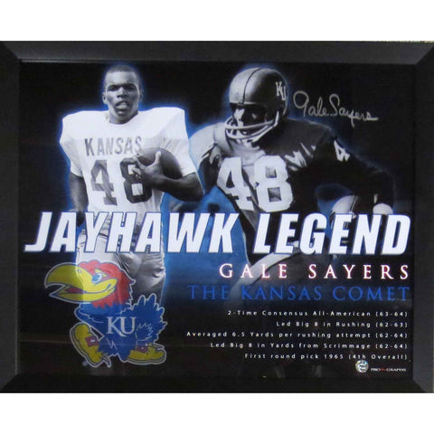 Gale Sayers Autographed Kansas Jayhawks Signed 16x20 Framed Photo Photo