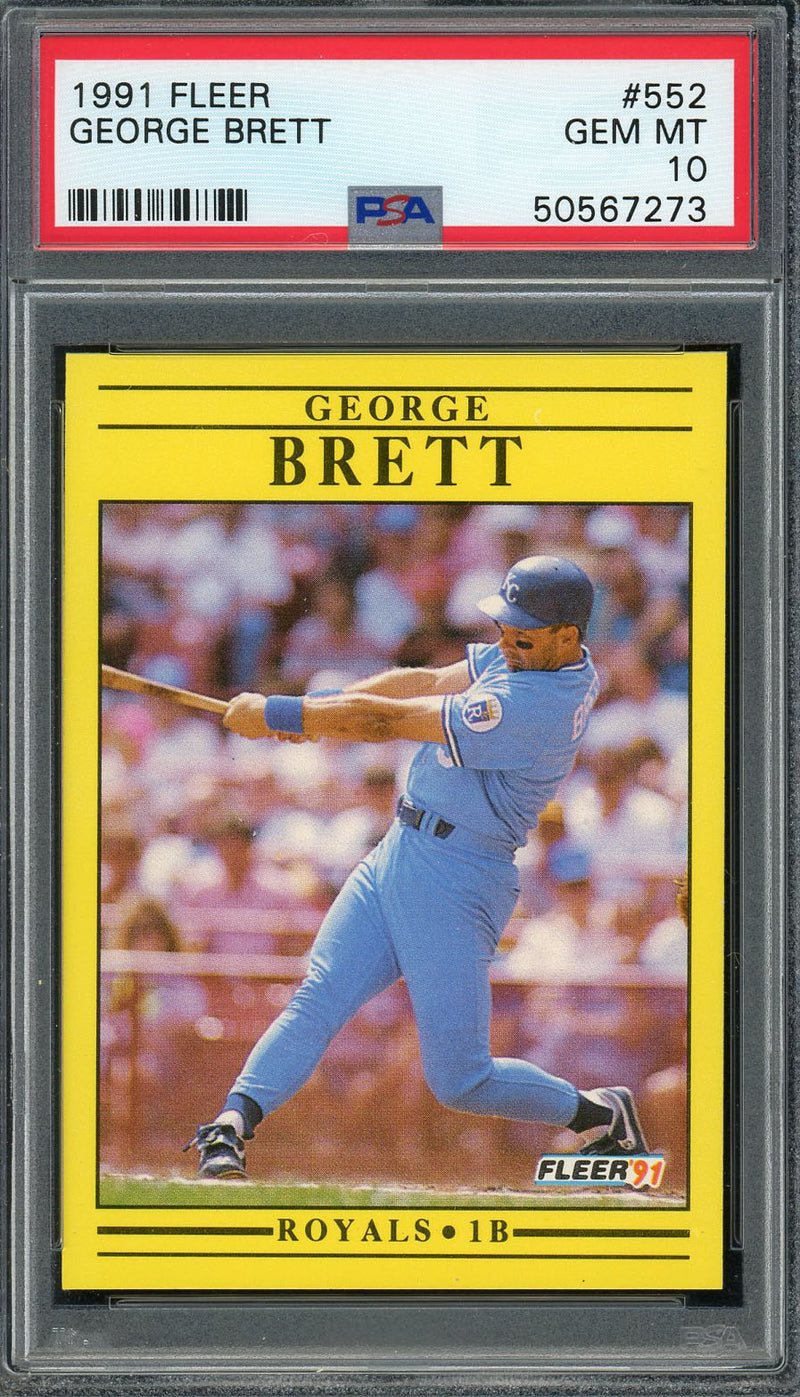George Brett Kansas City Royals 1991 Fleer Baseball Card #552 Graded PSA 10 GEM MINT-Powers Sports Memorabilia