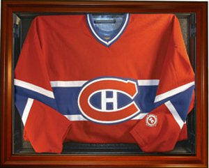 Hockey Jersey Deluxe Half Display Case Wood PSM-Powers Sports Memorabilia