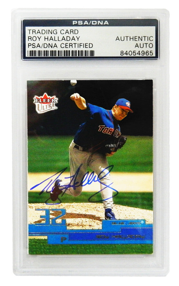 Roy Halladay Signed Toronto Blue Jays 2002 Fleer Trading Card #38 - (PSA Encapsulated) PSM-Powers Sports Memorabilia