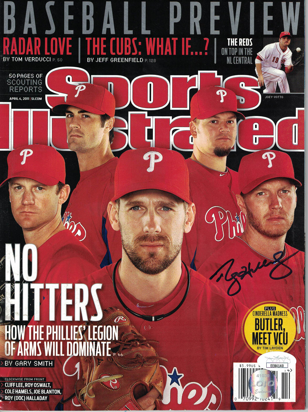 Roy Halladay Signed Philadelphia Phillies Sports Illustrated 4/4/2011 JSA PSM-Powers Sports Memorabilia