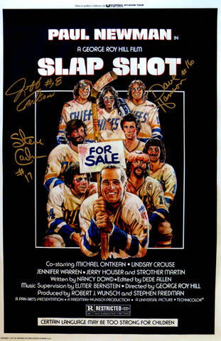 Hanson Brothers Signed 'Slap Shot' 11x17 Movie Poster PSM-Powers Sports Memorabilia