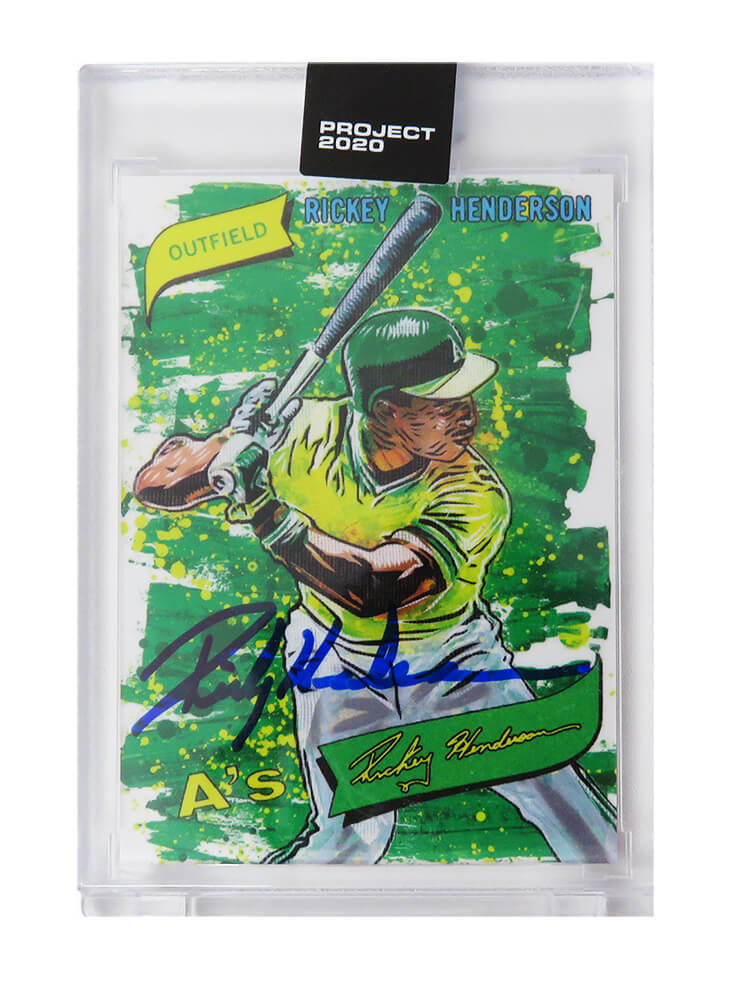 Rickey Henderson Signed Topps Project 20/20 Card #57 (Blake Jamieson - Artist) PSM-Powers Sports Memorabilia