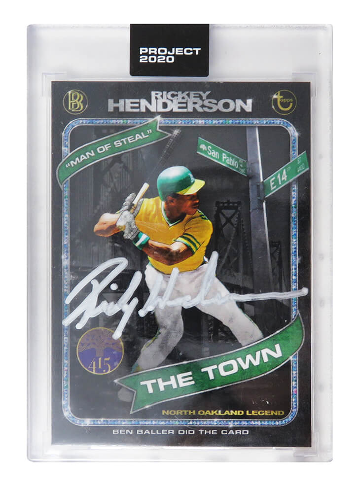 Rickey Henderson Signed Topps Project 20/20 Card #71 (Ben Baller - Artist) PSM-Powers Sports Memorabilia