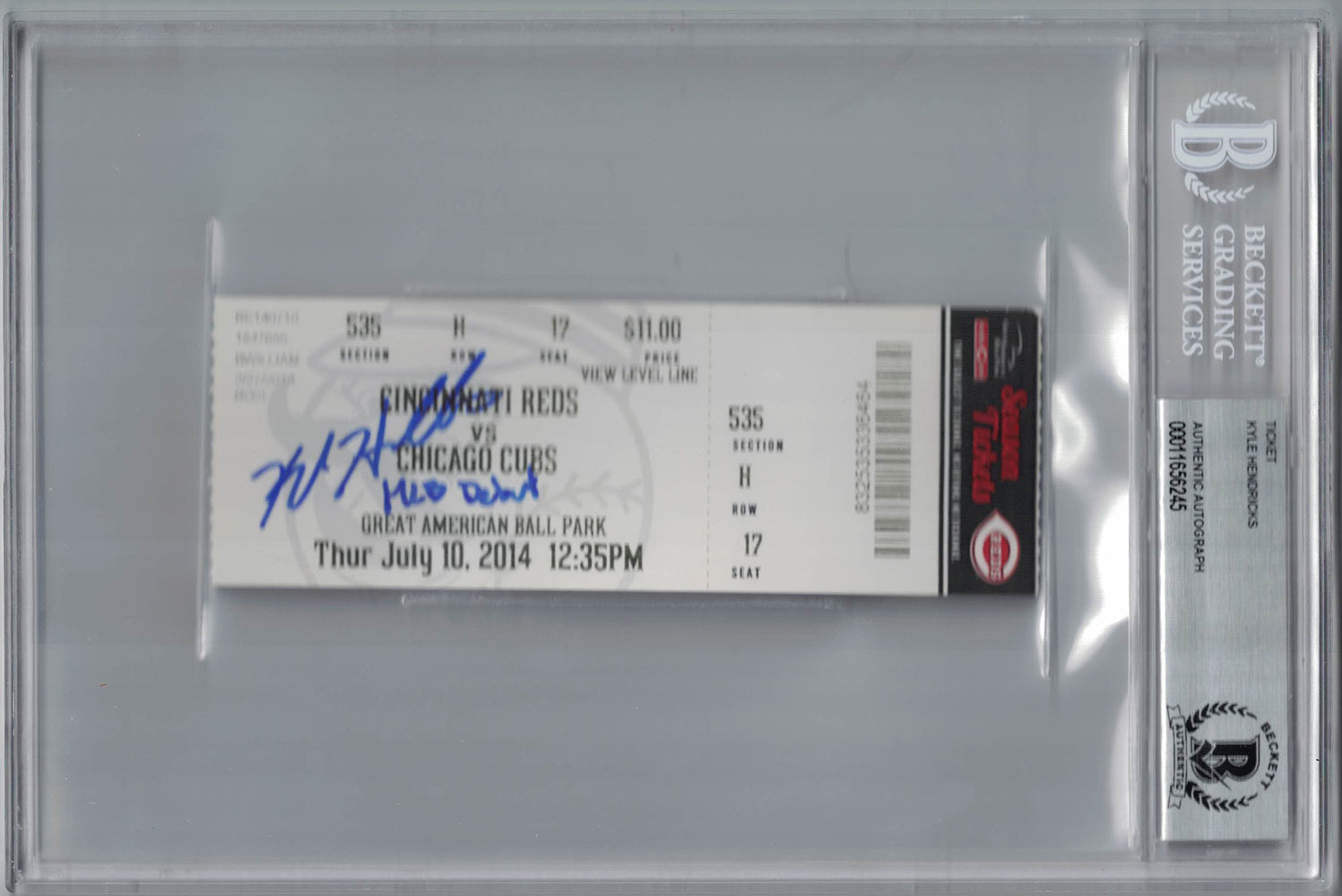 Kyle Hendricks Autographed/Signed Chicago Cubs Ticket MLB Debut BAS Slab PSM-Powers Sports Memorabilia