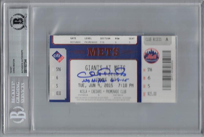 Chris Heston Signed San Francisco Giants Club Level Ticket No Hitter BAS PSM-Powers Sports Memorabilia