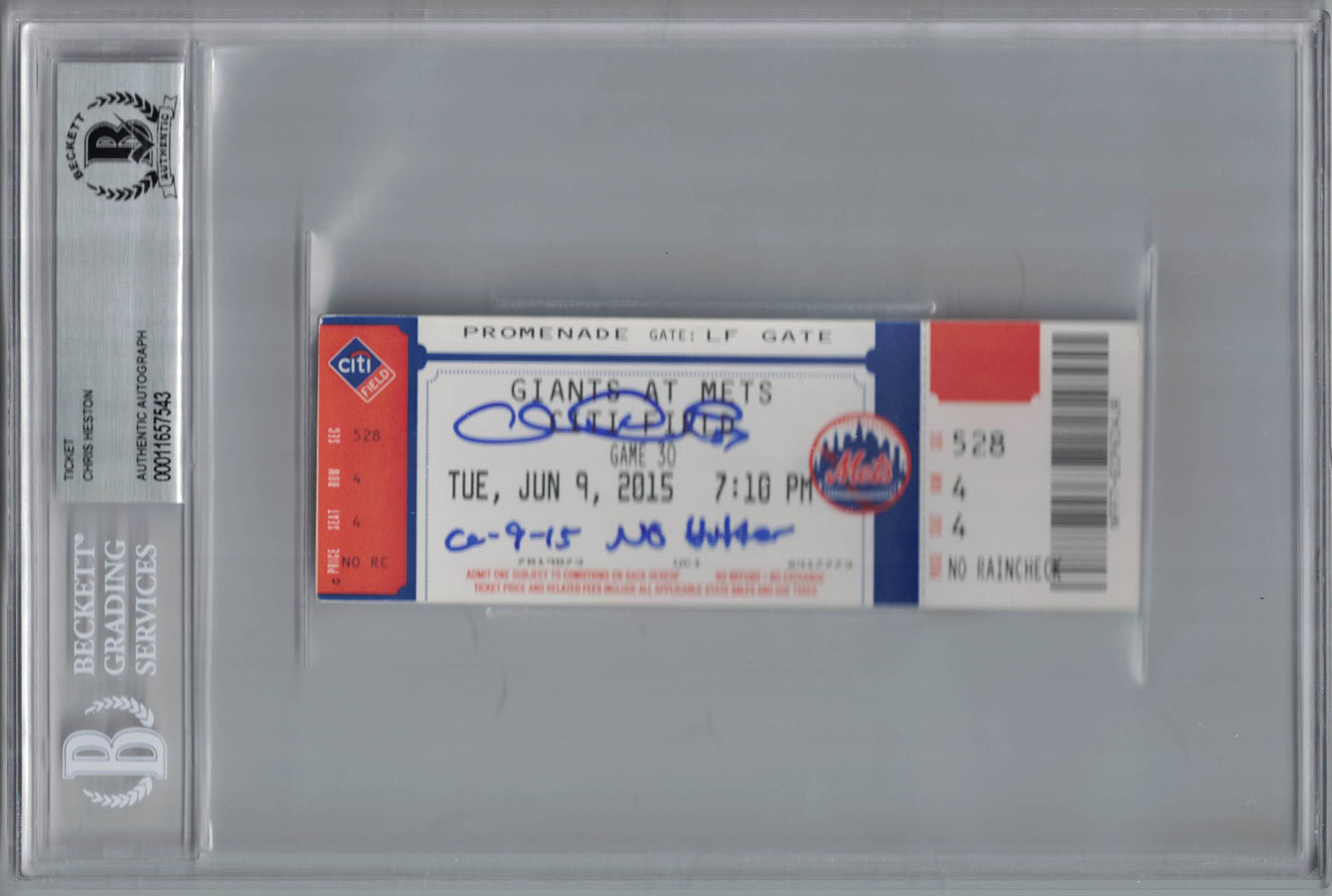 Chris Heston Autographed San Francisco Giants Ticket No Hitter BAS Slab PSM-Powers Sports Memorabilia