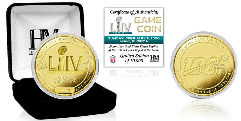 Highland Mint - San Francisco 49ers vs Kansas City Chiefs Super Bowl LIV 54 Gold Flip Coin - Limited Edition of 10,000 PSM-Powers Sports Memorabilia