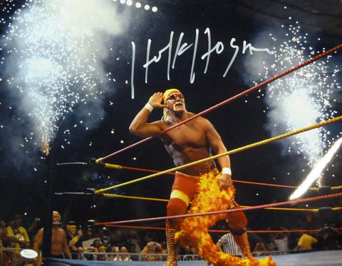 Hulk Hogan Autographed 16x20 Photo (Fireworks) JSA PSM-Powers Sports Memorabilia