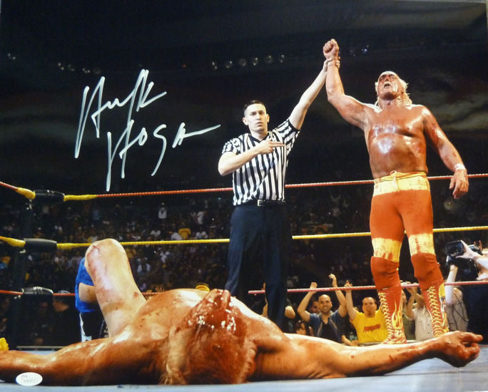 Hulk Hogan Autographed 16x20 Photo (w/Rick Flair) & JSA PSM-Powers Sports Memorabilia