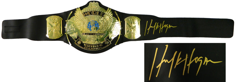 Hulk Hogan Signed WWE World Heavyweight Champion Black Replica Wrestling Belt PSM-Powers Sports Memorabilia