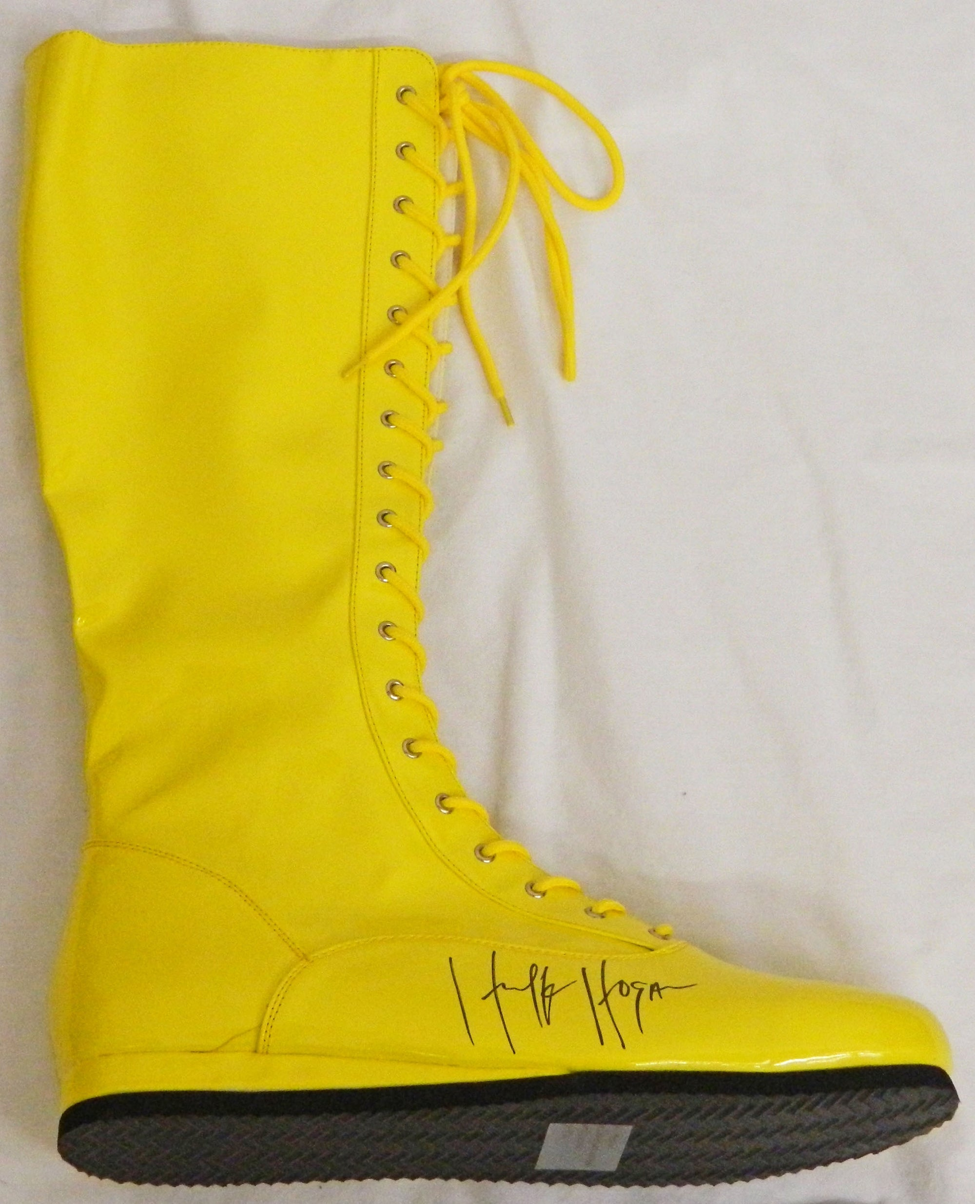 Hulk Hogan Signed Yellow Wrestling Boot PSM-Powers Sports Memorabilia