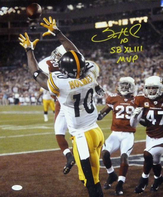 Santonio Holmes Autographed Pittsburgh Steelers 16x20 Photo SB MVP JSA PSM-Powers Sports Memorabilia