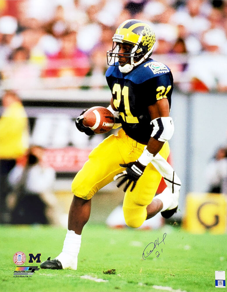 Desmond Howard Signed Michigan Wolverines Action 16x20 Photo PSM-Powers Sports Memorabilia