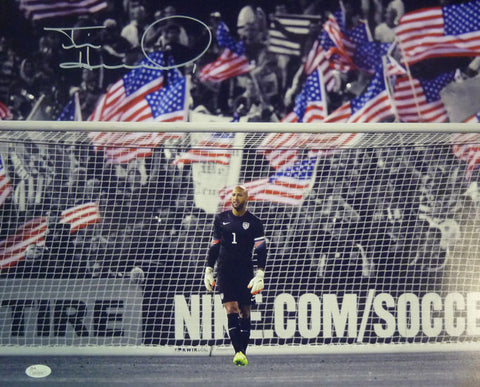 Tim Howard Autographed USA Soccer 16x20 Photo (In Goal w/ Flags) JSA-Powers Sports Memorabilia