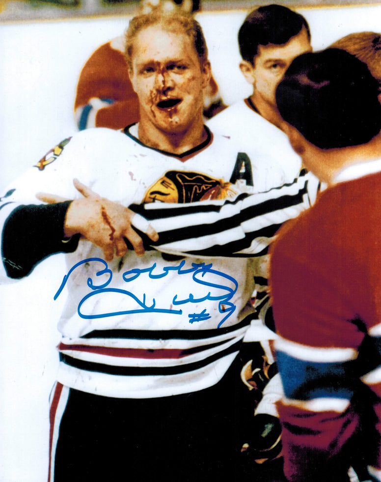 Bobby Hull Signed Blackhawks Blood 8x10 Photo PSM-Powers Sports Memorabilia
