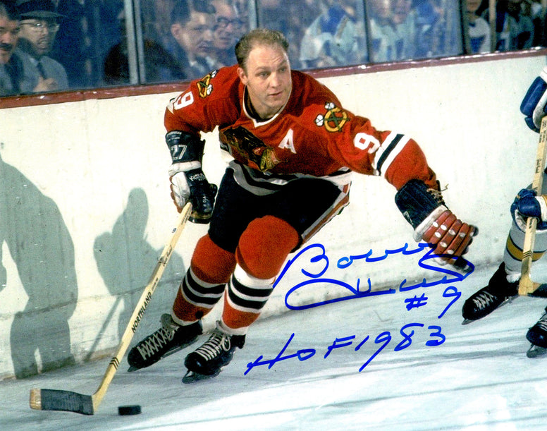 Bobby Hull Signed Chicago Blackhawks Action With Puck 8x10 Photo w/HOF 1983 PSM-Powers Sports Memorabilia
