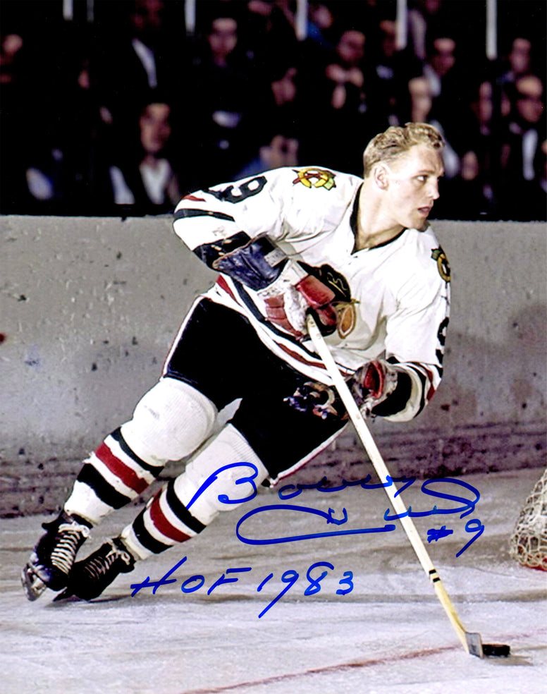Bobby Hull Signed Chicago Blackhawks Color Action With Puck 8x10 Photo w/HOF 1983 PSM-Powers Sports Memorabilia