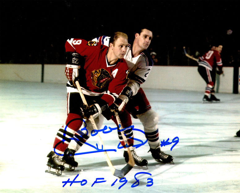 Bobby Hull Signed Blackhawks Defending Action 8x10 Photo w/HOF 1983 PSM-Powers Sports Memorabilia