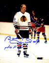 Bobby Hull Signed Blackhawks Standing On Ice 8x10 Photo w/HOF 1983 PSM-Powers Sports Memorabilia