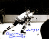 Bobby Hull Signed Chicago Blackhawks Horizontal In Game Skating B&W 8x10 Photo w/HOF 1983 PSM-Powers Sports Memorabilia