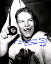 Bobby Hull Signed Blackhawks B&W Holding 1st 50th Goal Puck 8x10 Photo PSM-Powers Sports Memorabilia