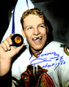 Bobby Hull Signed Blackhawks B&W Holding 1st 50th Goal Puck 8x10 Photo w/HOF 1983 PSM-Powers Sports Memorabilia