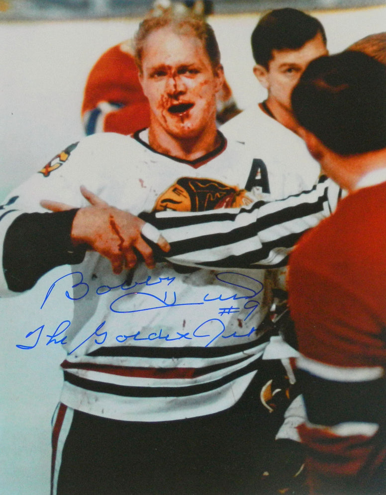Bobby Hull Signed Blackhawks 'Blood' 11x14 Photo w/The Golden Jet PSM-Powers Sports Memorabilia
