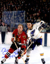 Bobby Hull Signed Chicago Blackhawks Action Vs Blues 11x14 Photo w/HOF 1983 PSM-Powers Sports Memorabilia
