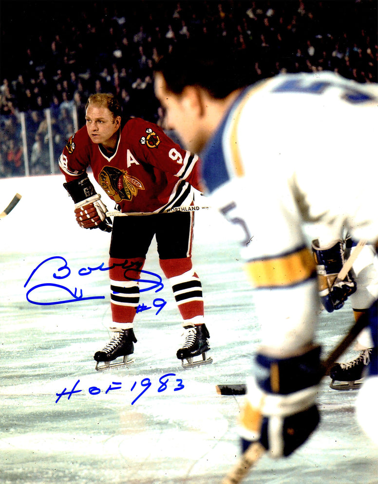 Bobby Hull Signed Chicago Blackhawks In Game Color 11x14 Photo w/HOF 1983 PSM-Powers Sports Memorabilia