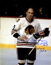 Bobby Hull Signed Chicago Blackhawks Blood On Jersey 11x14 Photo w/HOF 1983 PSM-Powers Sports Memorabilia