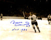 Bobby Hull Signed Chicago Blackhawks B&W Stick Raised 11x14 Photo w/HOF 1983 PSM-Powers Sports Memorabilia