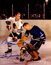 Bobby Hull Signed Chicago Blackhawks Shoot On Goal Vs Johnny Bower 11x14 Photo w/The Golden Jet PSM-Powers Sports Memorabilia