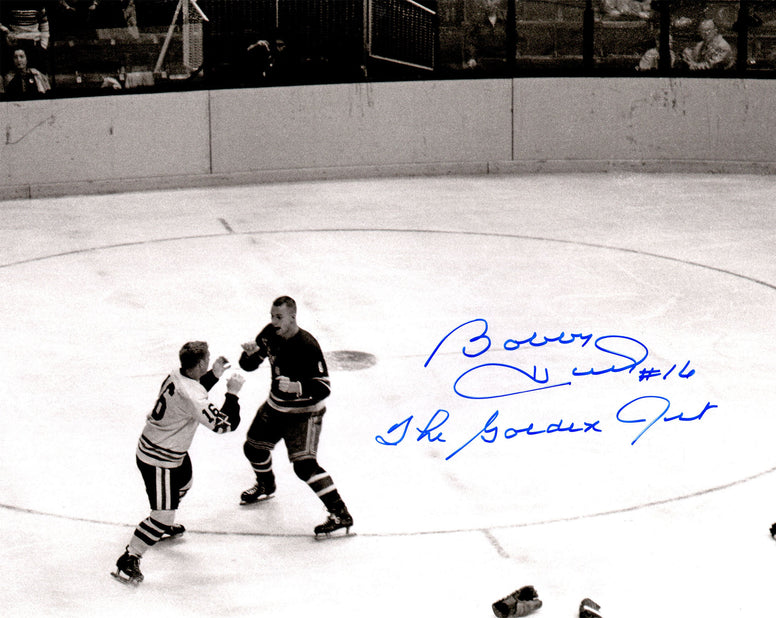Bobby Hull Signed Chicago Blackhawks B&W Action Fight 11x14 Photo w/The Golden Jet PSM-Powers Sports Memorabilia