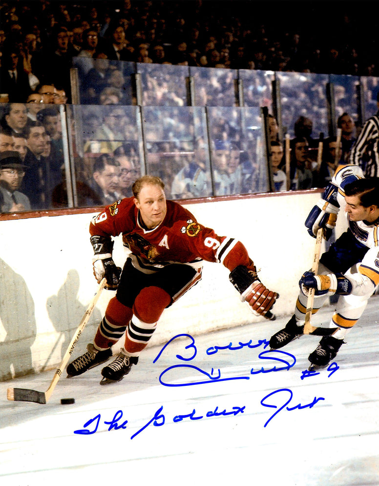 Bobby Hull Signed Chicago Blackhawks Action With Puck 11x14 Photo w/The Golden Jet PSM-Powers Sports Memorabilia