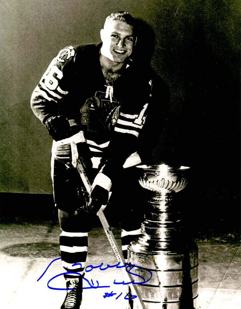 Bobby Hull Signed Chicago Blackhawks On Ice With Stanley Cup 11x14 Photo PSM-Powers Sports Memorabilia