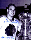 Bobby Hull Signed Chicago Blackhawks B&W With Stanley Cup 11x14 Photo w/61 Cup Champs PSM-Powers Sports Memorabilia