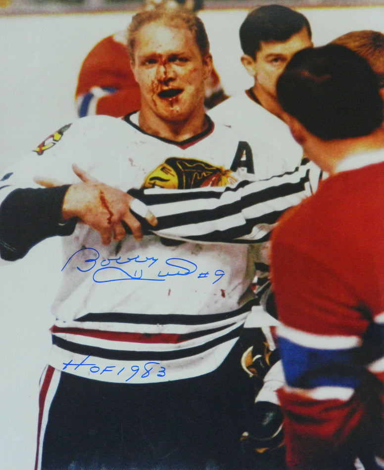 Bobby Hull Signed Chicago Blackhawks 'Blood' 16x20 Photo w/HOF 1983 PSM-Powers Sports Memorabilia