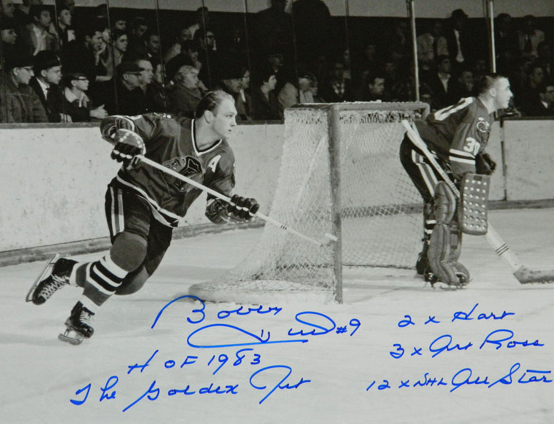 Bobby Hull Signed Chicago Blackhawks B&W Action 16x20 Photo w/5-Inscriptions PSM-Powers Sports Memorabilia